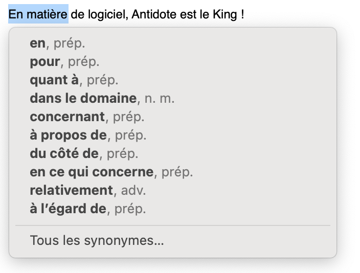 Logiciel Antidote synonymes